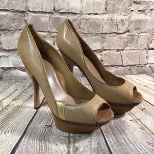 LAMB HEELS SHOES Open Toe Leather 9.5